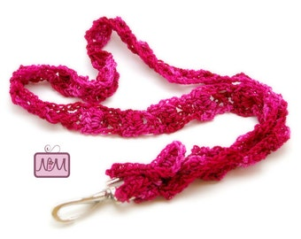 Crochet Woven Ribbon Lanyard, ID Badge Holder, Pink Colour, Cancer Gifts, Clip, Crochet Keychain, Gifts For Her, Accessories, Valentine