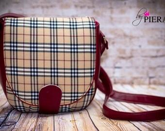 saddle, bag, handbag, purse, plaid, faux leather, burgundy, tartan, ready to ship