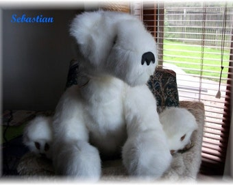 White Polar Bear 15 1/2 inch  Teddy Bear is a Handsewn  OOAK