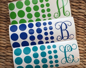 Script Initial Vinyl Decal With Dots - Vine Initial Decal - Vine Monogram - Monogram - Single Initial - Polka Dots - Vinyl Dots - Circles