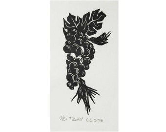 grape - 5.5×12cm - woodcut print