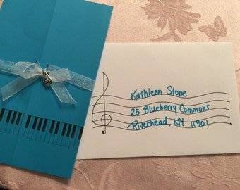 Music themed invitations - sweet 16 - graduations - weddings -- coordinating envelopes.
