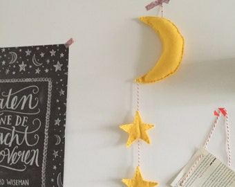 Moon & star of felt