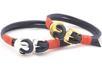 2x matching couple bracelet, couples nautical bracelet, anchor leather bracelets, His Hers bracelets, custom bracelet, personalized couples