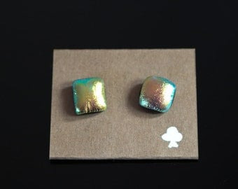 Colourful Unique/Handmade, Fused Dichroic Glass Earrings on 925 Sterling Silver ear studs