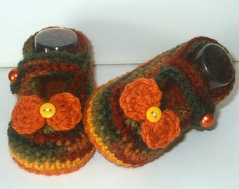 Cute Crochet *Autumn Buttons & Bows Mary Janes* 4 Baby Girl. 3-9 mos - Shoes, Booties, Fall