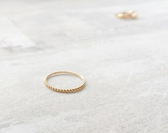 Simple Beaded Ring in Yellow Gold Filled - Bobble Gold Filled Ring - Beaded Band - Dotted Gold Ring