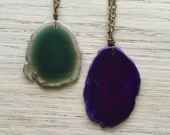 Long dyed agate slice necklaces / teal agate slice necklace / purple agate slice necklace / boho crystal necklace / statement necklace