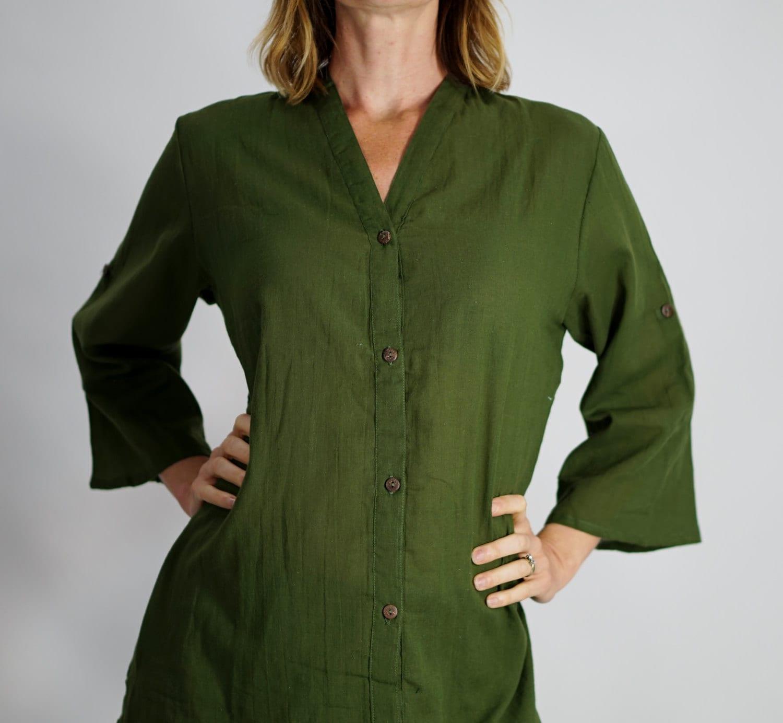 Womens button down shirt olive green zootzu by zootzugarb for Womens tall button down shirts