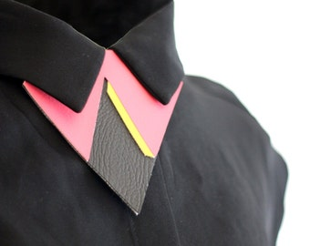 SALE one of a kind geometric bow tie alternative, unique necklace, unisex bow tie, collar accessory, triangle bow tie,statement accessory