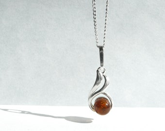 Snail Amber Necklace, Amber Sterling Silver Pendant, Small Charm Baltic Amber Charm, Modern Snail Design Jewelry