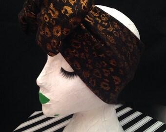 Lucille Turban Bow Headband in Bronze Leopard
