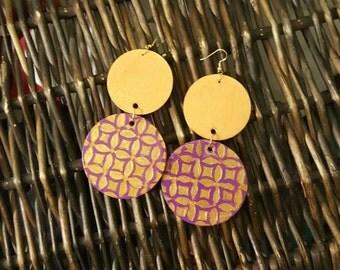 Hand painted earrings, dangle earrings, statement earrings, large earrings, purple earrings, gold earrings, wood earrings