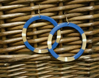 hand painted earrings, wood earrings, dangle earrings, blue earrings