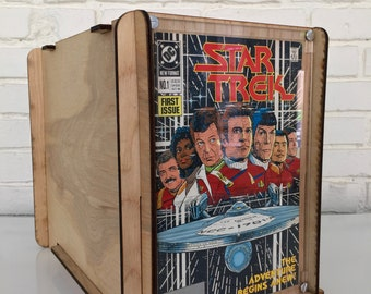 Comic Book Storage and Display Box with Retro Look in Eco Friendly Wood