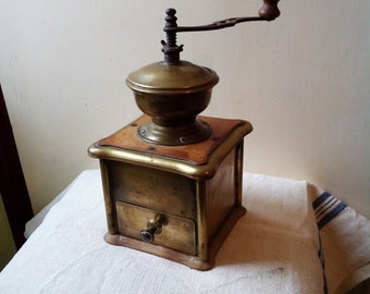 Antique copper wood coffee grinder, coffee mill, moulin a cafe