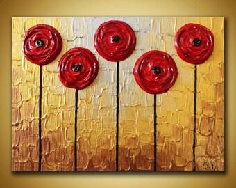 Original Mini Painting Metallic Textured Art Mini Canvas Art Red flower painting Gold Red Abstract Art Miniature painting 5x7 Original Art