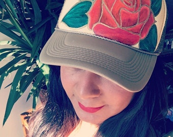 Hand painted rose trucker hat