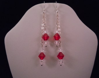 Crystal & ruby chain earrings