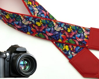 Butterfly camera strap. Red DSLR / SLR Camera Strap. Camera accessories for Nikon Canon Sony & other cameras.
