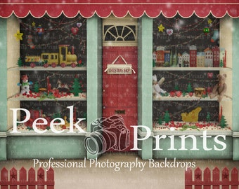 8ftx7ft Christmas Store Front Santas Workshop Vinyl Photography Backdrop