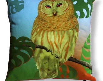 Bird cushion cover cotton TROPICAL OWL