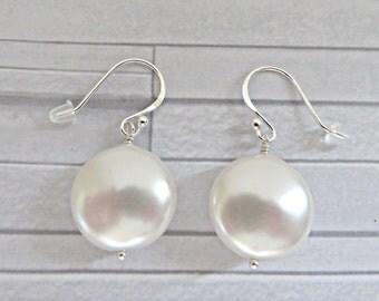 White pearl earrings, Coin pearl earrings, Crystal pearl earrings, Pearl dangle earrings, Bridal earrings, White wedding earrings, UK made