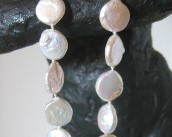 Coin Freshwater Pearl Necklace with 14 Karat Gold Clasp