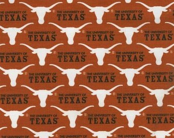 Texas Longhorns 65/35 Poly Cotton Twill Fabric 58/59 Inches wide