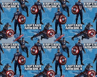 Captain America Star on blue cotton fabric, Springs Creative