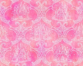 A Royal Princess, Pink Castle Toile, Cotton fabric, Quilting Treasures