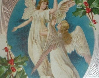 Lovely Art Nouveau Angels and Holly Antique Christmas Postcard