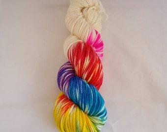 Rainbow flash merino/silk aran weight yarn