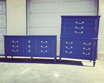 Modern Midcentrury Bedroom set, Thomasville, dresser, tallboy, navy denim blue