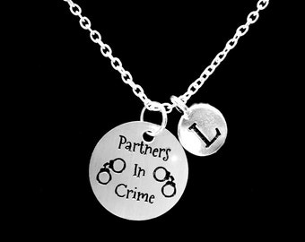 Initial Necklace, Best Friend Necklace, Partners In Crime Necklace, Best Friend Gift, Sister Necklace, Gift Necklace