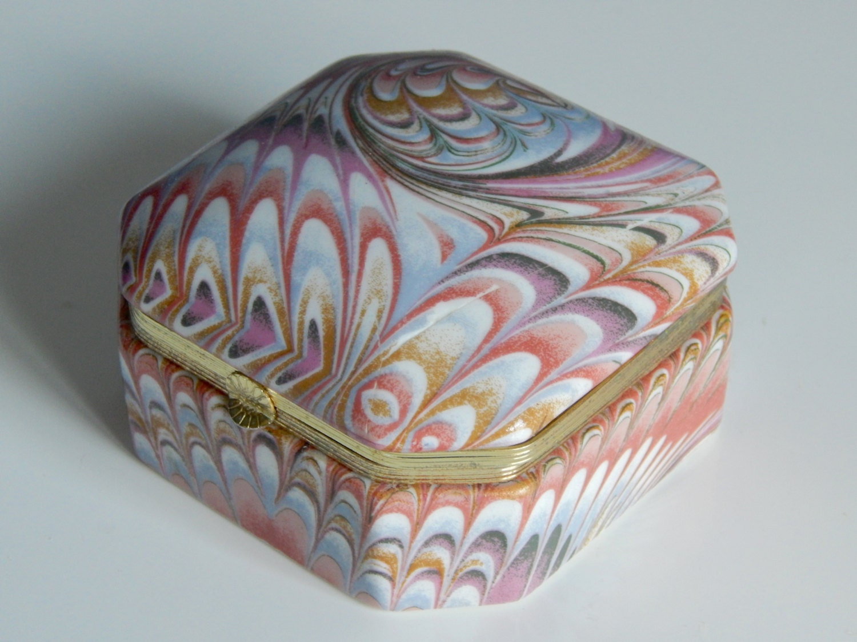 vintage porcelain jewelry box trinket box desk organizer