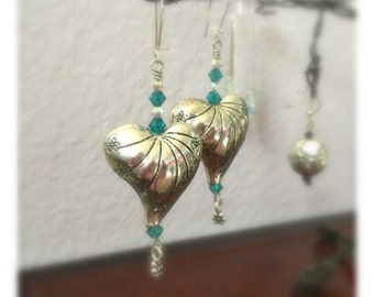Heart Shaped Dangle earrings with  Swarovski Crystals