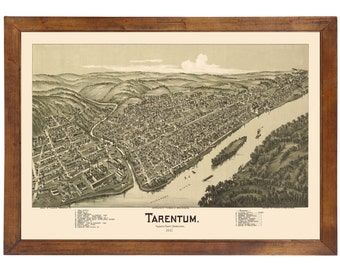 Tarentum, PA 1901 Bird's Eye View; 24x36 Print from a Vintage Lithograph