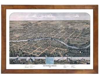 South Bend, IN 1866 Bird's Eye View; 24x36 Print from a Vintage Lithograph