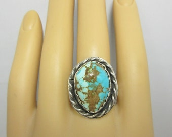 Turquoise Ring Sterling Silver Ring Size 10 Turquoise Cabochon Handmade Ring Turquoise Jewelry December Birthstone Indie Ring Boho Ring #245