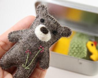 Teddy Bear - Miniature Teddy Bear - Mini Teddy Bear - Miniature Toys - Miniature Dolls - Mini Dolls - Felt Toys - Keepsake Gift - Travel Toy