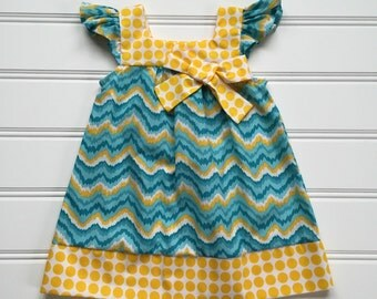 Teal Chevron Dress, Toddler Dress, Flutter Sleeve Dress, Girl Summer Dress, Girl Sundress, Toddler Girl Dress, Teal Dress, Ready to Ship 3T