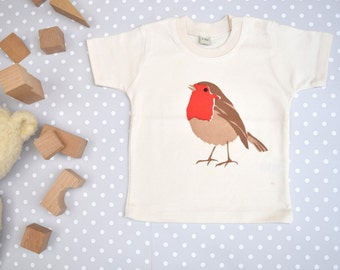 Baby t-shirt in organic cotton with robin. Baby boy or baby girl gift.