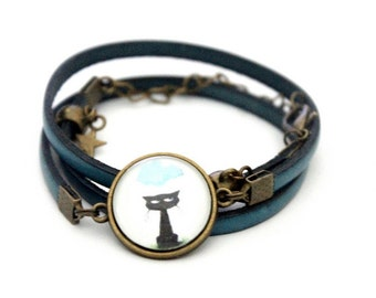 "Bracelet turquoise leather 3 rounds with cabochon ""black cat, cloud and rain"" brass vintage"