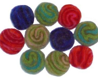 Large 2.5cm Spiral Wool Felt Beads - pack of 10