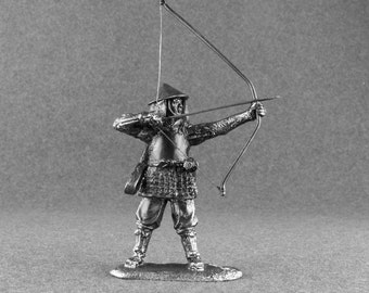 Japan Miniature Toy Bowman Ashigaru 1/32 Scale Medieval  54mm Toy Soldier Collectible Statue Antique Action Figurines