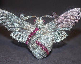Vintage Estate Diamond Ruby Butterfly Brooch 14k White Gold Big Dramatic 6.3cts