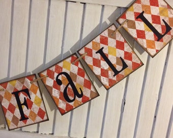 Fall Banner Bunting Garland Sign Autumn Colors Argyle Orange Brown Yellow Happy Fall Decoration Rustic Shabby Grunge Distressed Primitive