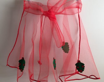Vintage Holiday Apron Red Net With Holly Berries