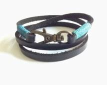 Pulsera de Hombre Men's wrap bracelet Bronze Men Bracelet Black triple Leather bracelet leather cuff Bohemian Wristband leather men bracelet